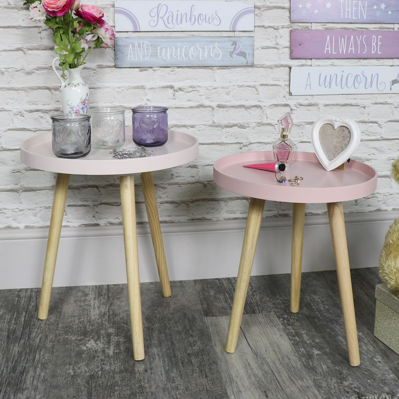 Round Coffee Table Pair: Pair Of Round Pink Side Tables