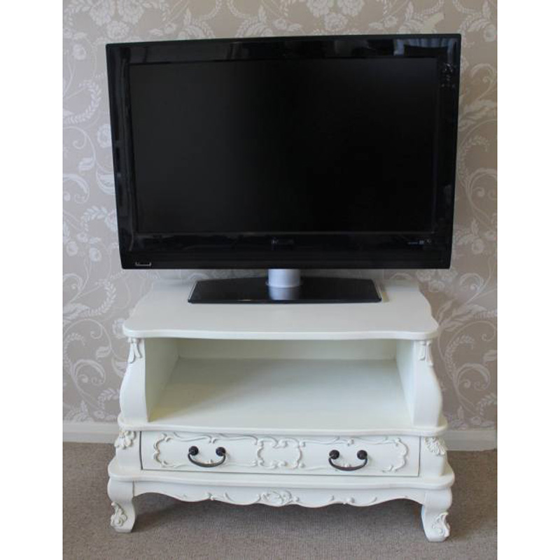 Ornate Ivory Wooden TV Cabinet with Drawer - Kensington Range
