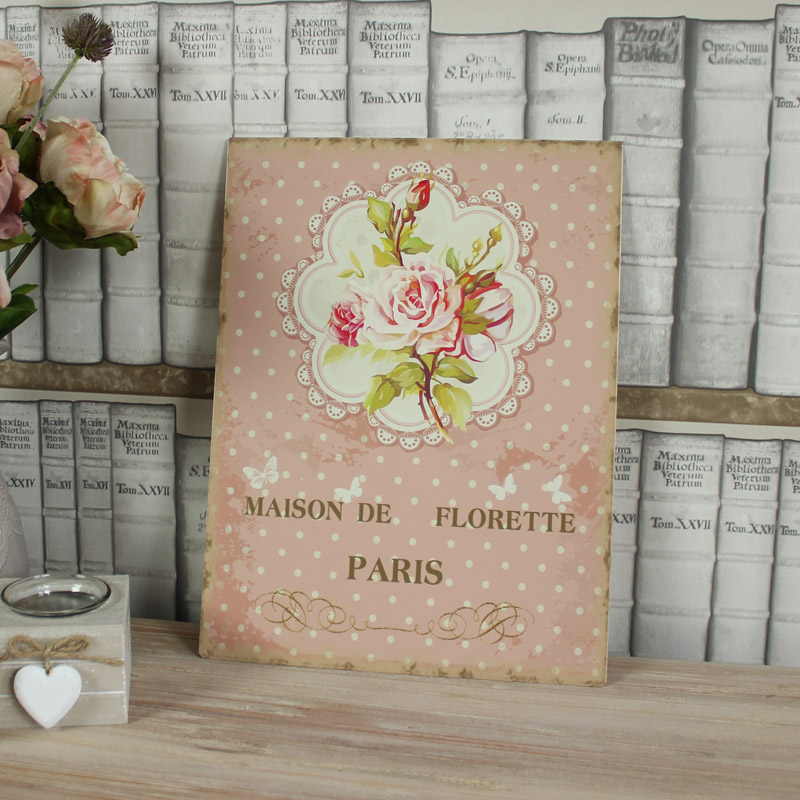 pink rosen blumen metall wandschild shabby vintage chic kunst schlafzimmer ebay. Black Bedroom Furniture Sets. Home Design Ideas