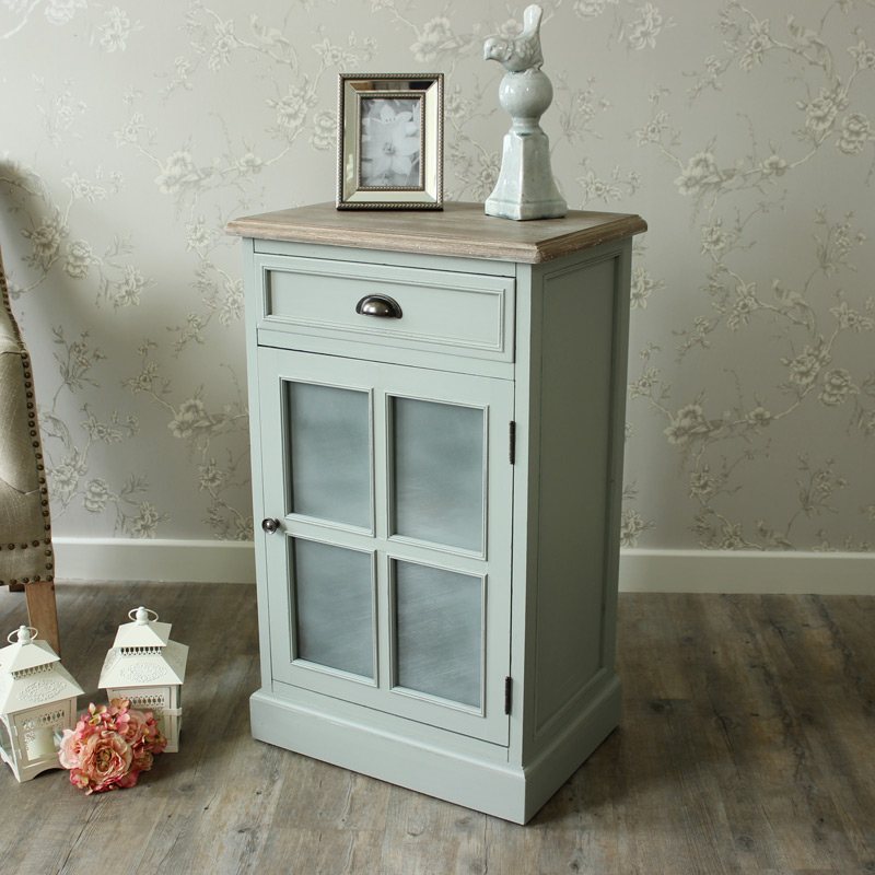 Portsmouth Grey Range - Bedside Cabinet with Frosted Glass Door