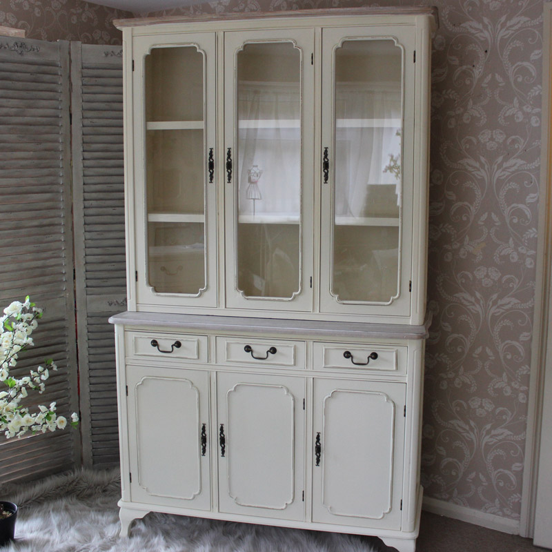 Cream Kitchen Doors: Provence Cream Large Glazed Display Cabinet With 3 Drawers