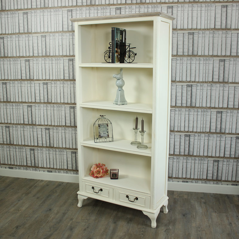 Provence Range - Cream 2 Drawer Bookcase