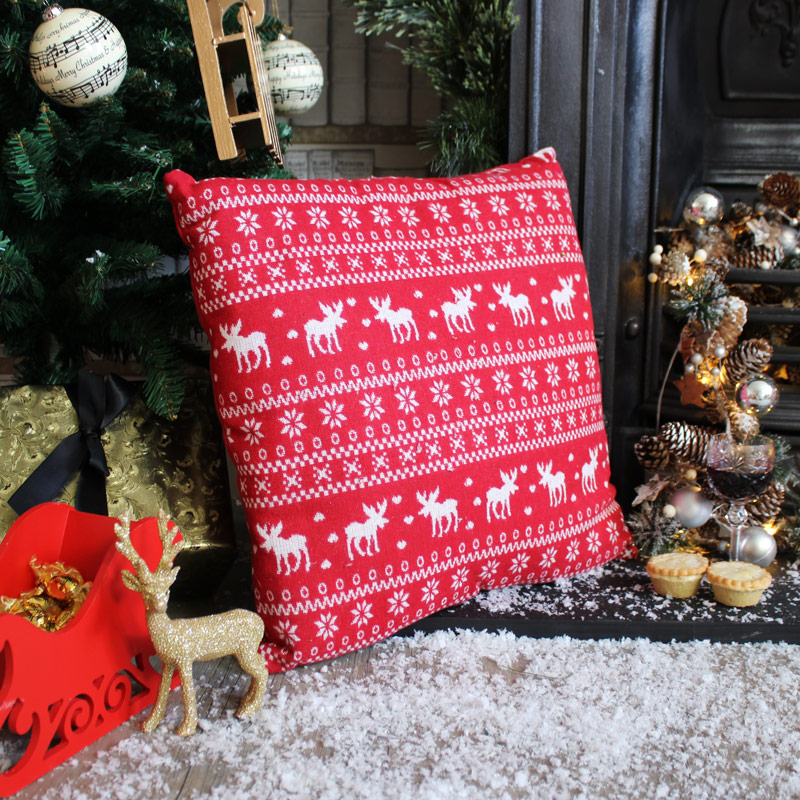Red Christmas Reindeer Cushion