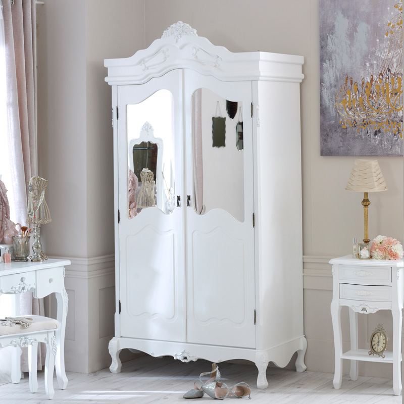 Rose Range - White Mirrored Double Wardrobe