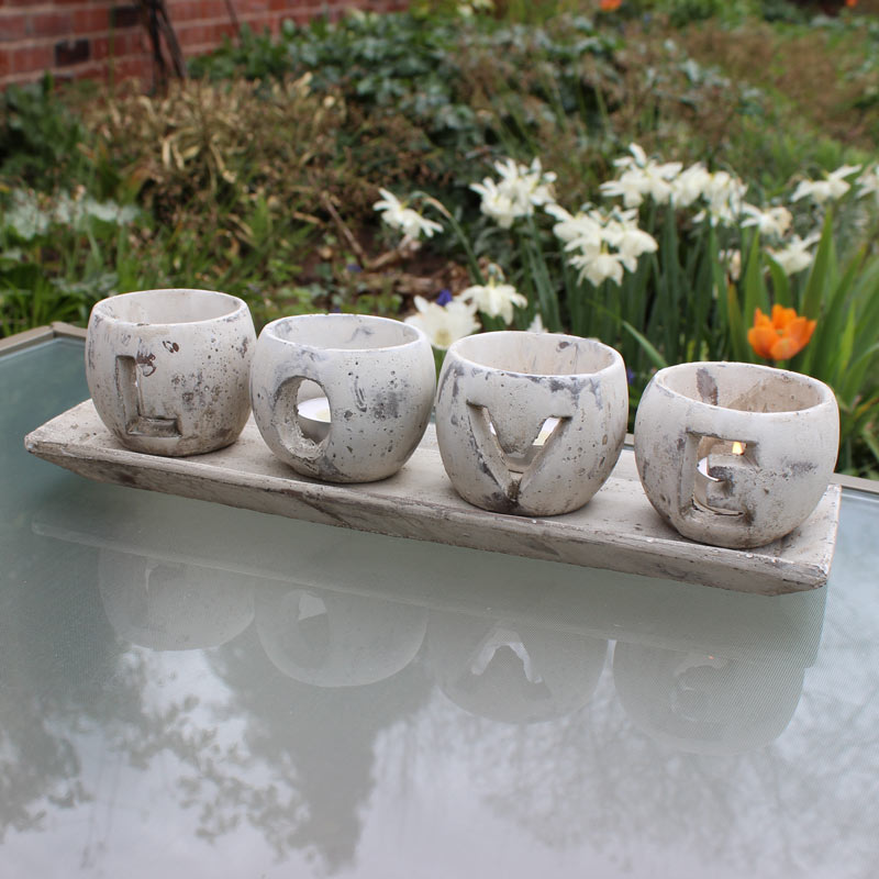 Rustic Distressed 'LOVE' Candle Holder