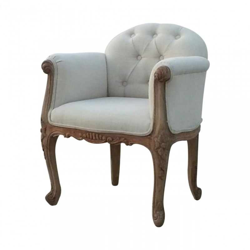 Rustic Padded Arm Chair with Carving