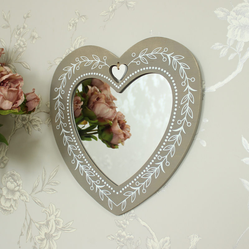 Rustic Wooden Heart Wall Mirror