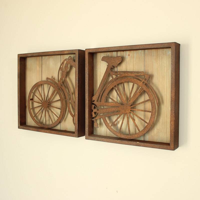 Set of 2 Bicycle Wall Art Pictures