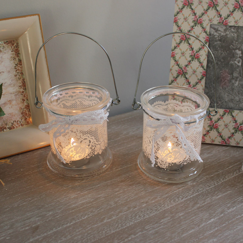 Set of 2 Glass Jar Candle Holders