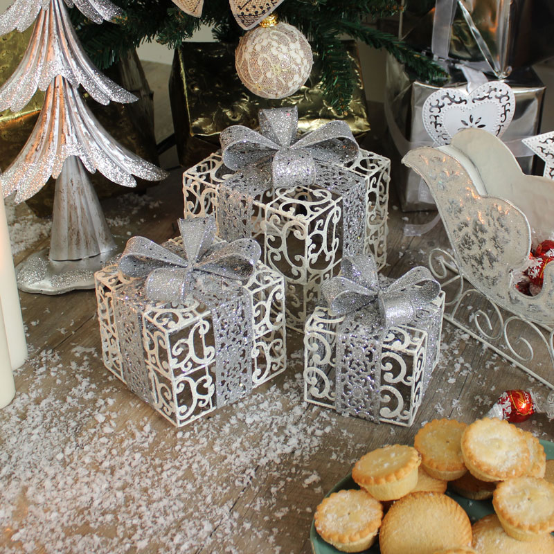 Set of 3 White & Silver Decorative Christmas Presents