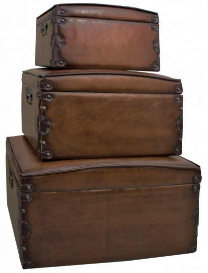 Set of Three Faux Leather Storage Boxes