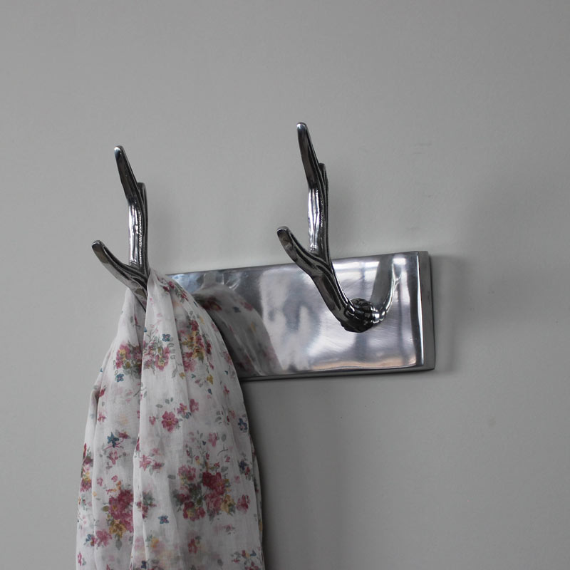 Silver Antler Style Wall Hooks