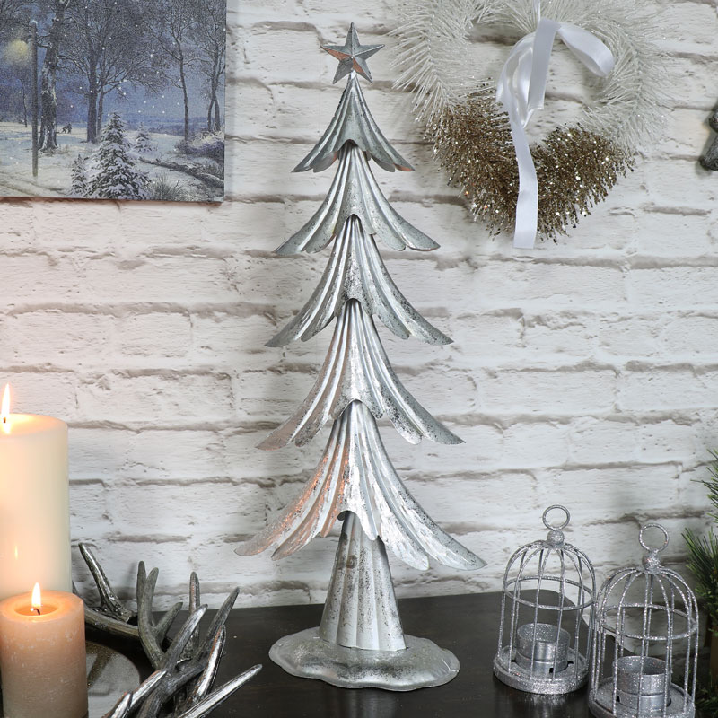 Silver metal christmas tree melody maison