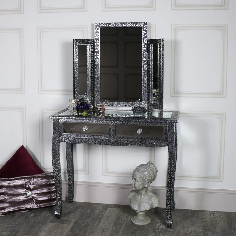 Silver Mirrored Dressing Table and Triple Mirror - Monique Range