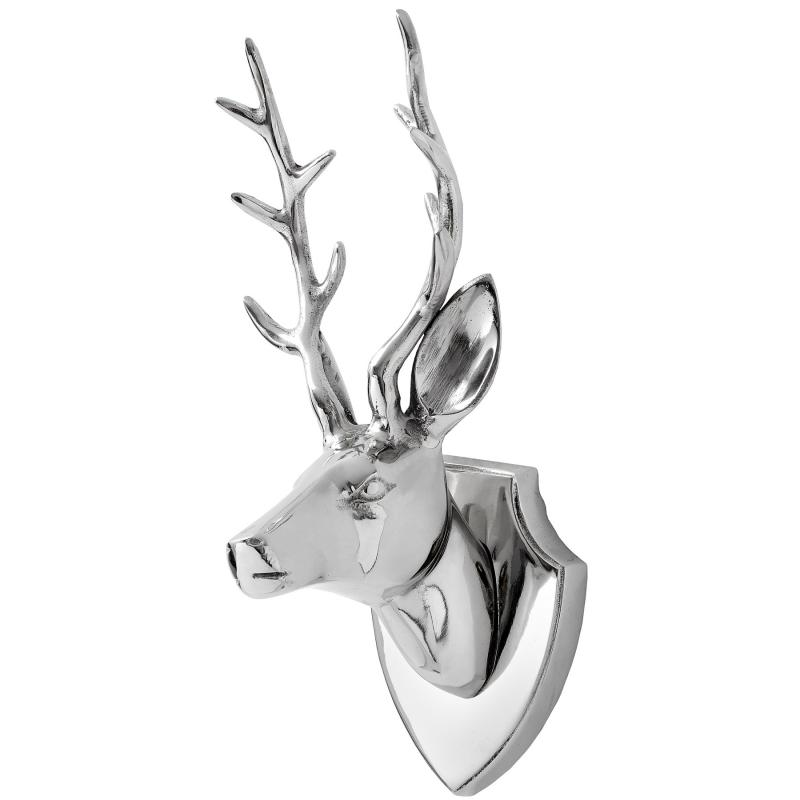 Silver Wall Mounted Stag's Head on a plaque