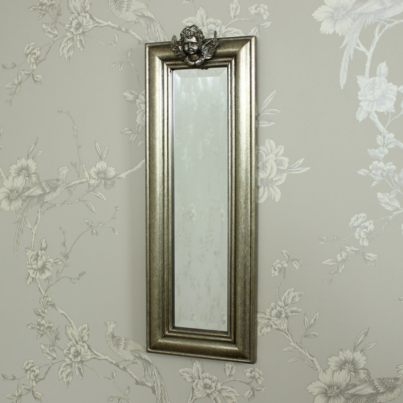 Slim Antique Silver Cherub Wall Mirror