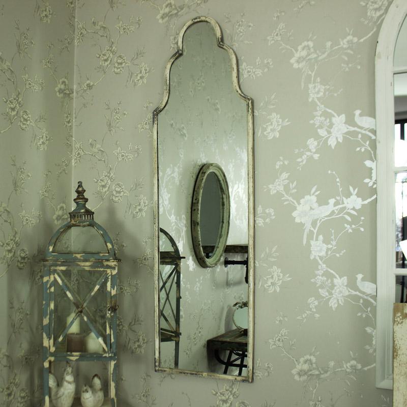 Slim White Ornate Arched Distressed Wall Mirror Bedroom Bathroom Vintage Rustic