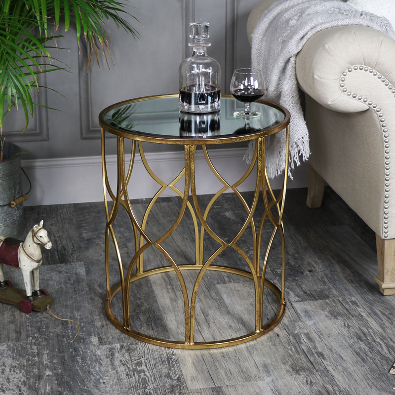 small ornate gold mirrored side table melody maison. Black Bedroom Furniture Sets. Home Design Ideas