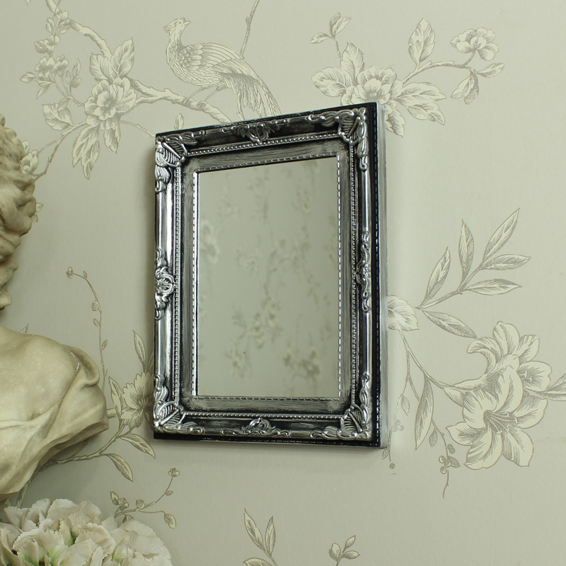 Silver Antique Ornate Small Wall Mirror Bathroom Bedroom Rectangle Ebay