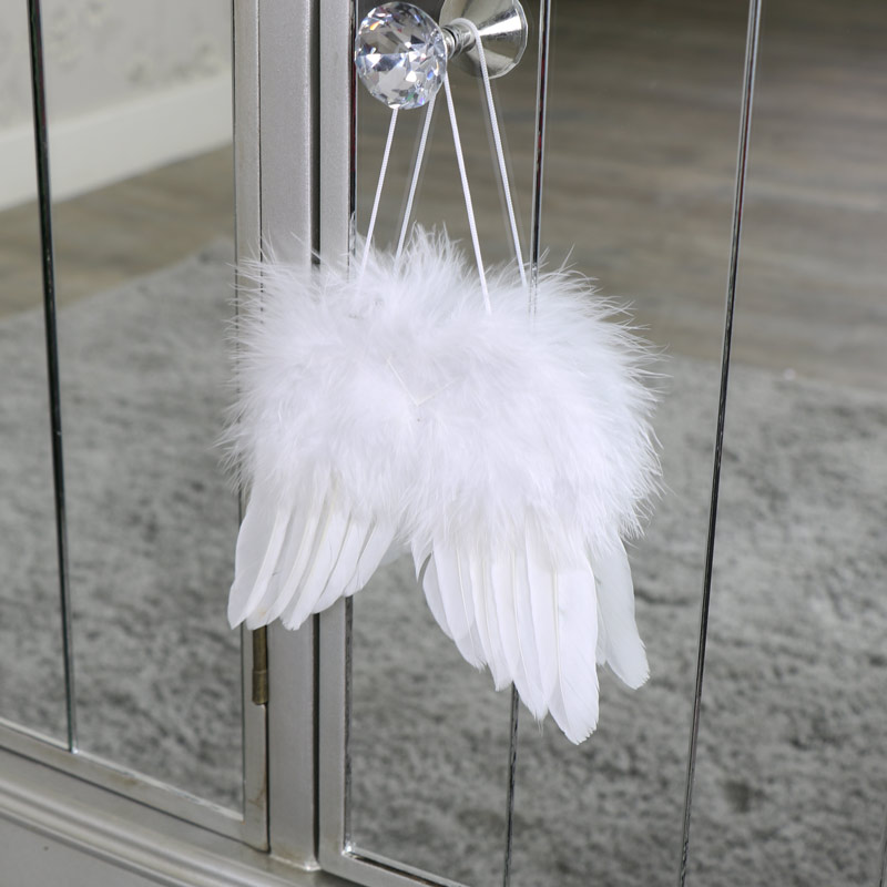 Small white feather angel wings hanging decoration for Angel wings wall decoration uk