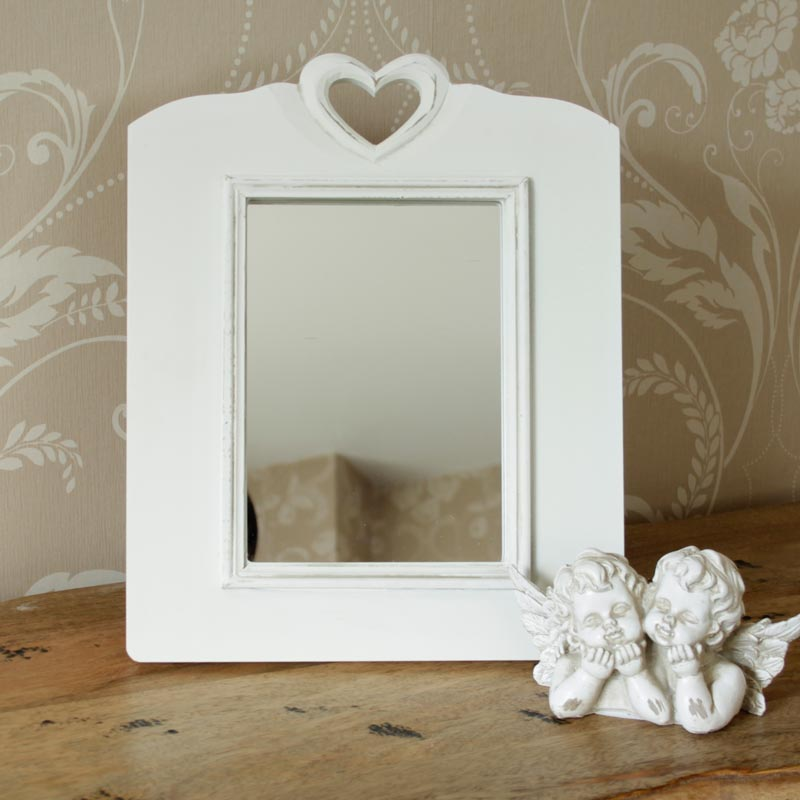 Table Top White Heart Mirror Melody Maison 174