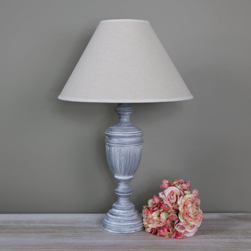 tall ornate vintage grey white washed wooden table lamp melody maison. Black Bedroom Furniture Sets. Home Design Ideas