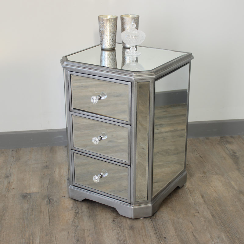 The angelina range mirrored bedside table melody maison for Mirror bedside table