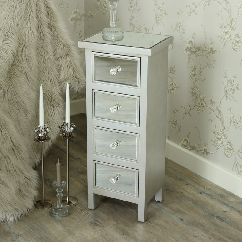 Mirrored Four Drawer Tall Boy Chest of Drawers - Angelina Range
