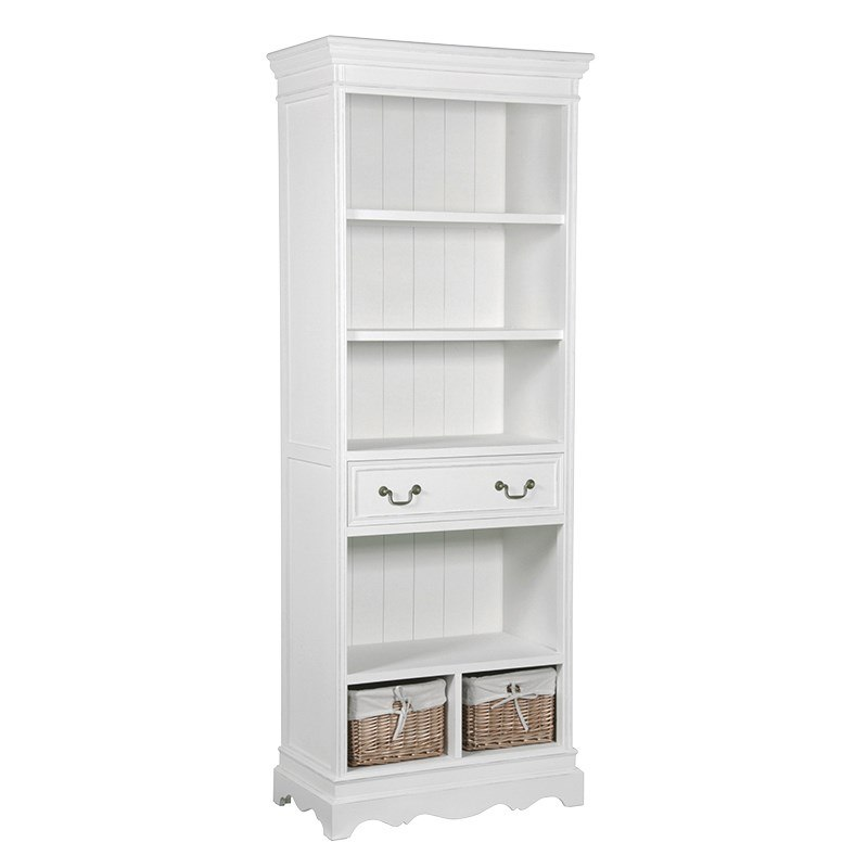 White Wooden Bookcase With Drawers And
