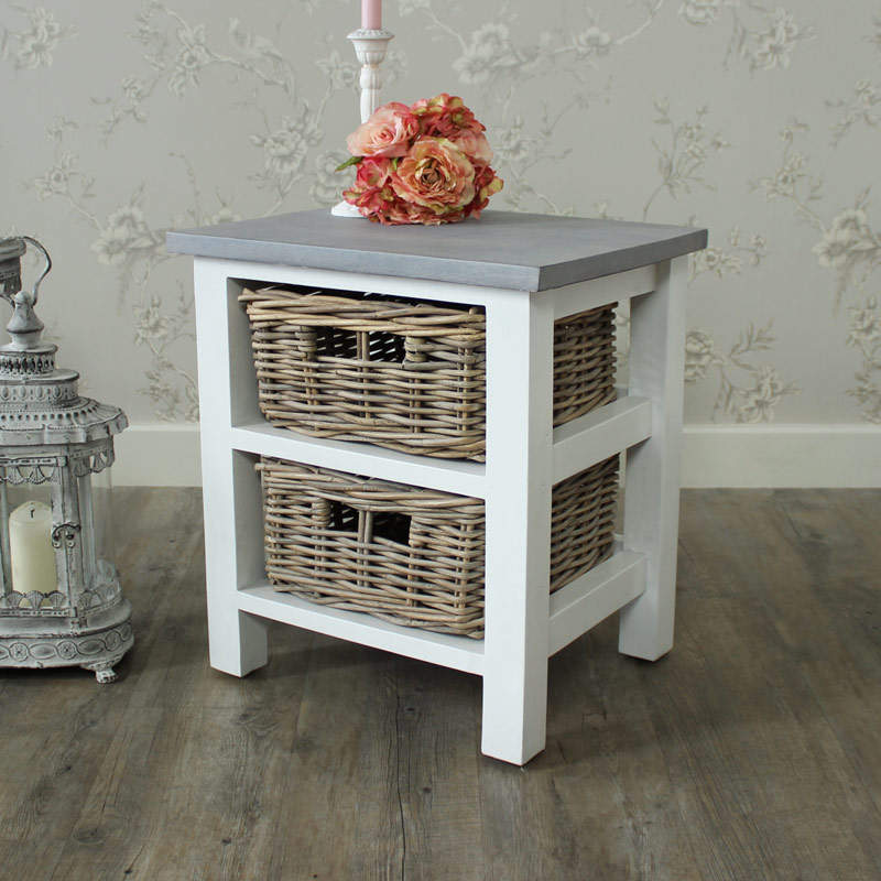 two drawer wicker storage unit melody maison. Black Bedroom Furniture Sets. Home Design Ideas