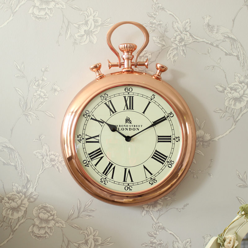Vintage copper stop watch style wall clock melody maison - Giant stopwatch wall clock ...