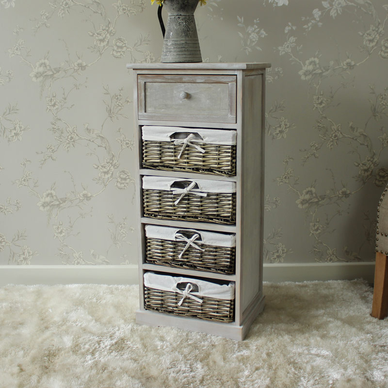 New Vintage Grey Range  One Drawer With Two Wicker Baskets Tall Storage