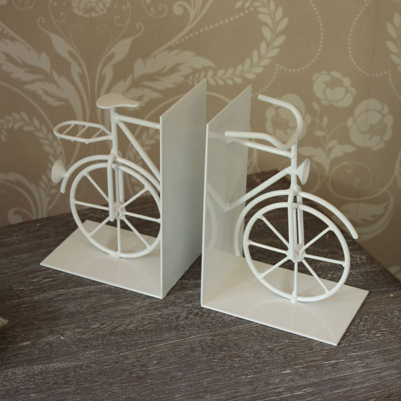 White Bicycle Book Ends
