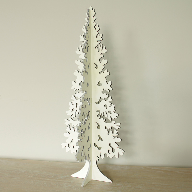 White wooden cut out Christmas Tree ornament