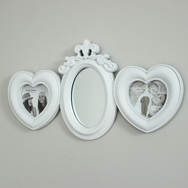 White Heart Photograph Frame with Mirror