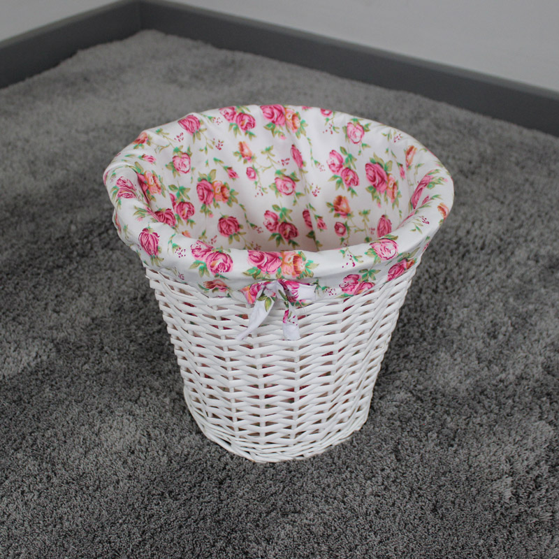 Pretty white wicker pink floral waste bin basket home kitsch cottage gift ebay - Wicker trash basket ...