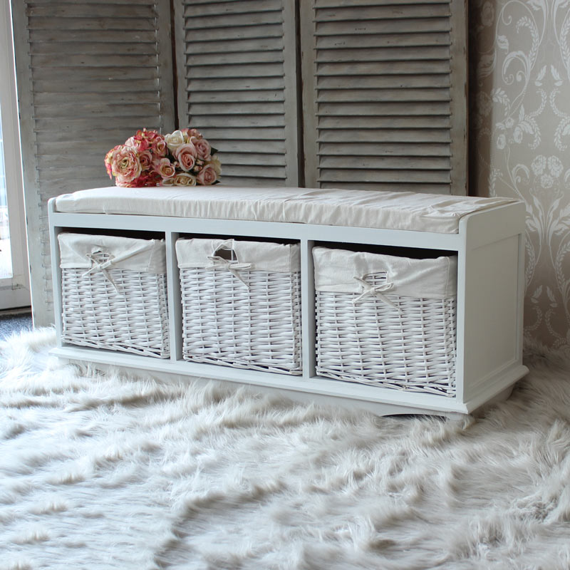 Attirant White Wicker Storage Bench Melody Maisonr