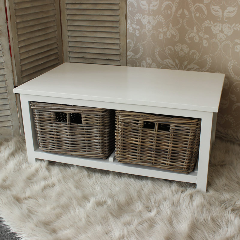 White Wood Coffee Table With Wicker Baskets Melody Maison