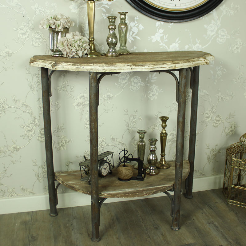 Wooden Cream Half Moon Console Table Melody Maison 174