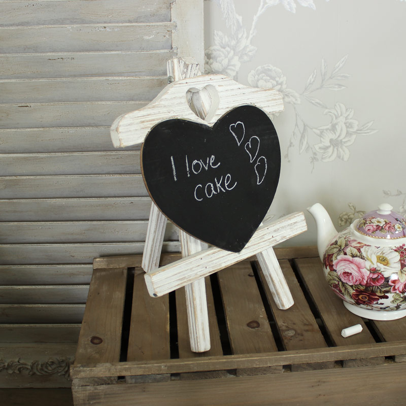 Wooden Heart Blackboard table number board