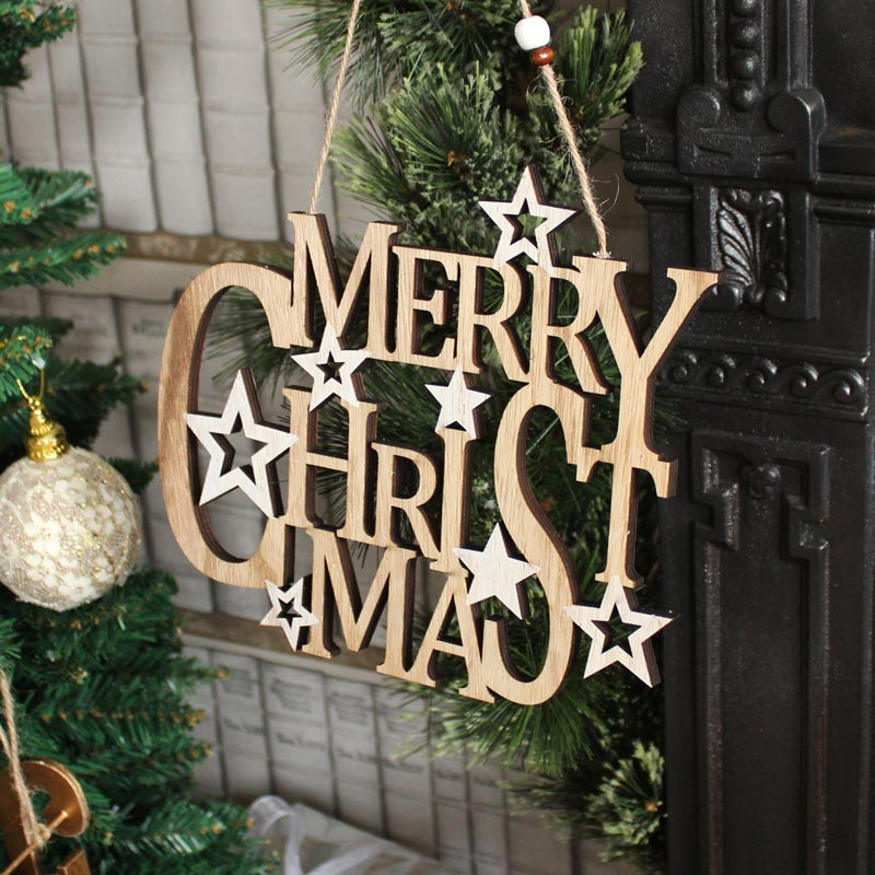 Wooden Merry Christmas Hanging Sign
