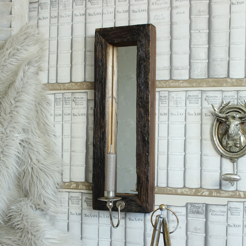 Wall mounted wooden wall mirror with candle sconce shabby ...