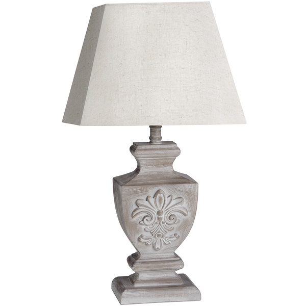 Ornate Grey Bedside Table Lamp with Shade