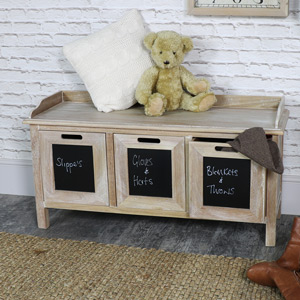 3 Drawer Blackboard Wooden Storage Bench