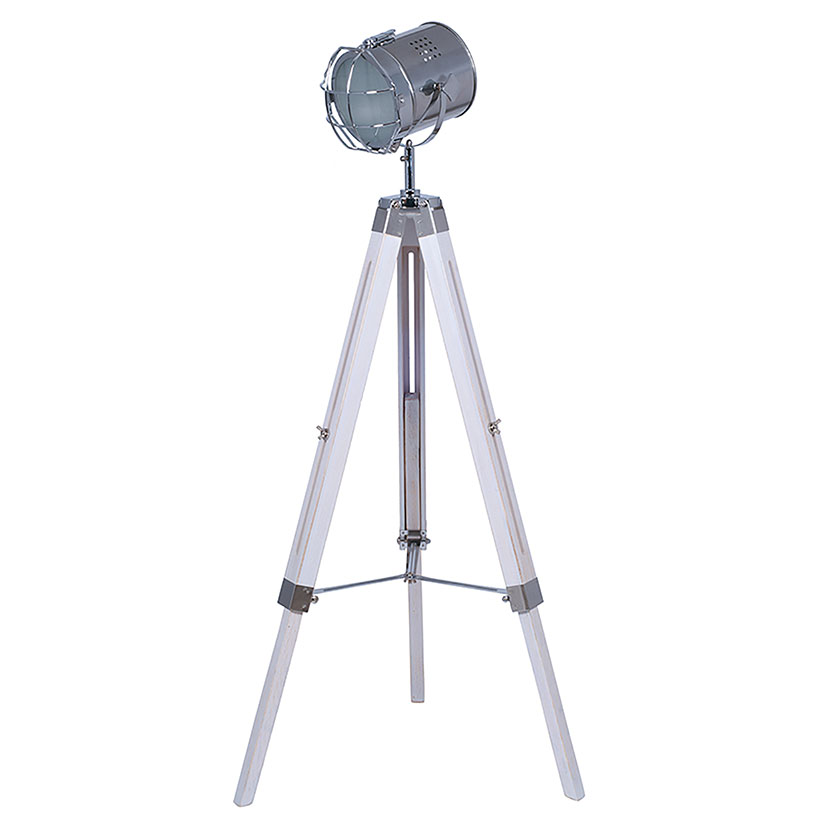 Floor Standing Lamp- White Washed Tripod Lamp with Chrome Detail