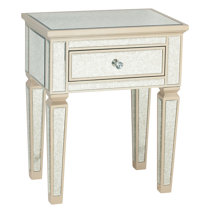 Alexandra Mirror Range - One Drawer Bedside Table