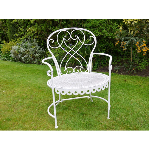 Pair of White Washed Garden Arm Chairs