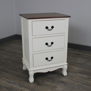 Adela Range - Cream 3 Drawer Bedside Unit