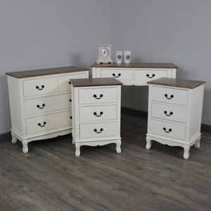 Adela Range - Cream Furniture Bundle, Console Table, Chest Of Drawers & Pair of Bedside Tables