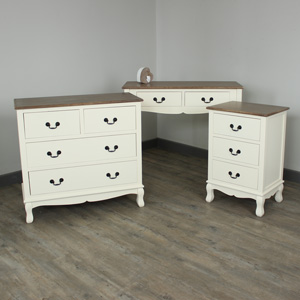 Adela Range - Cream Furniture Bundle, Console Table, Chest Of Drawers & Bedside Table